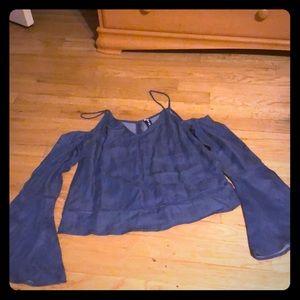 Tops - Off the shoulder denim blouse